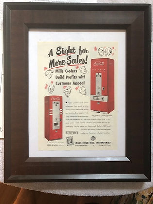 Mills 65 & 120 Coca-Cola original Ad 1948 Framed