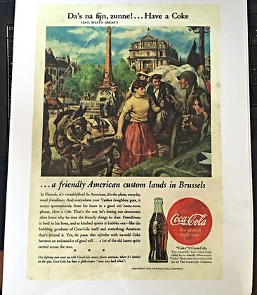 1945 Coca Cola Ad, Laminated, Very Nice 4 Framing