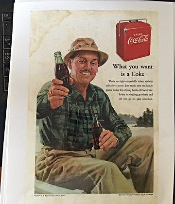 1952 Coca Cola Ad-Fisherman drinking a Coke