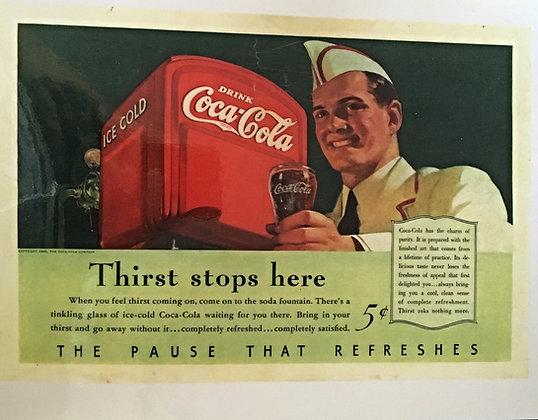 1940 Coca Cola Ad, Laminated, Very Nice 4 Framing