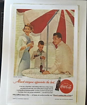 Coca Cola Ad 1955, laminated, for sale, Nostalgia Tymes