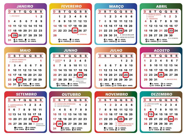Calendário 2021 Pagamentos Benefícios