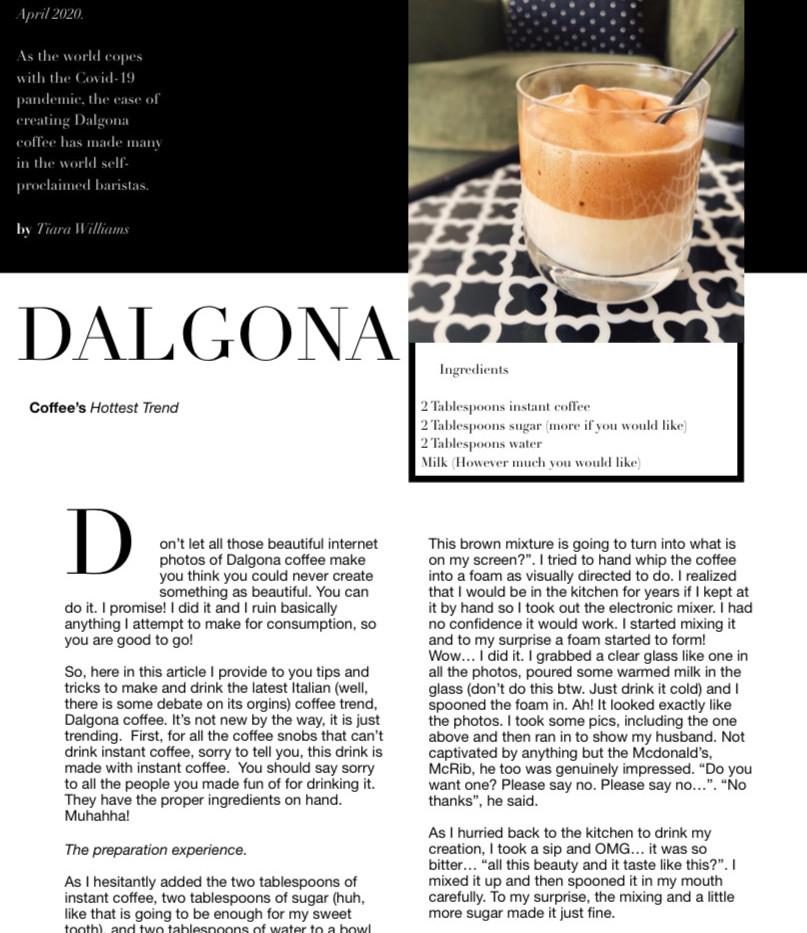 DALGONA coffee article