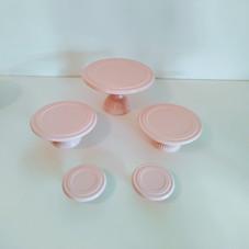 Kit suportes louça rosa bebe