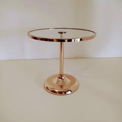 Boleira metal e vidro dourada alta