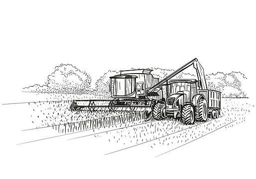 жатка-и-трактор-зернокомбайна-на-работе-