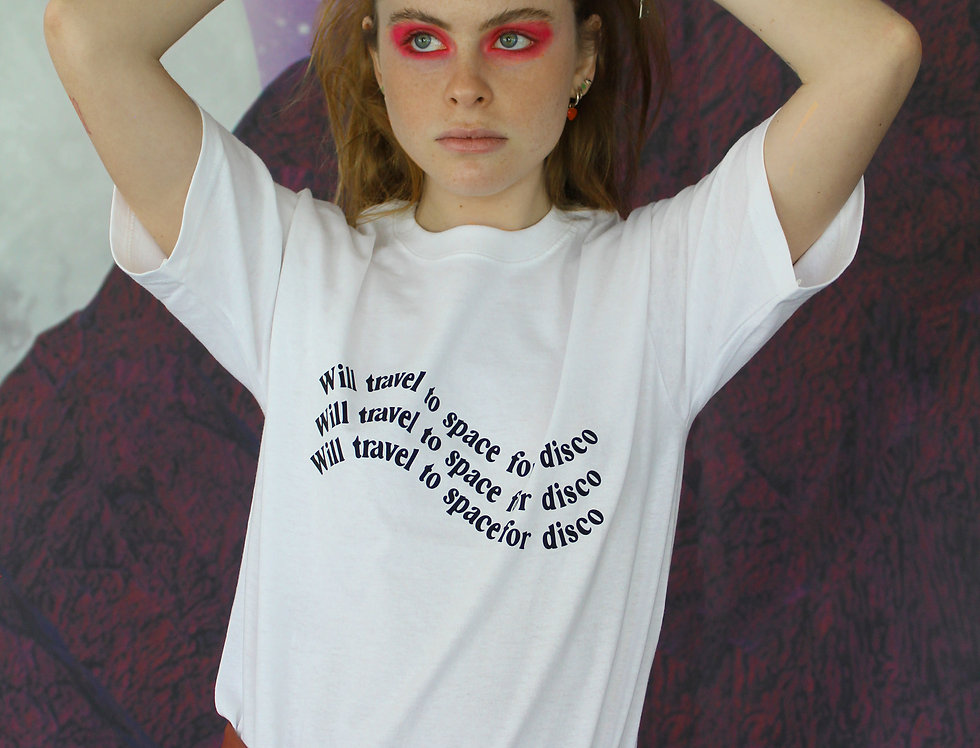 """""""WILL TRAVEL TO SPACE FOR DISCO"""" TSHIRT"""