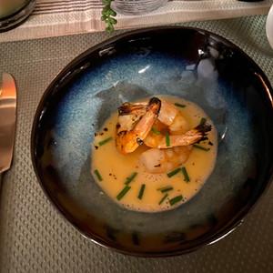 Grilled shrimp soup appetizer