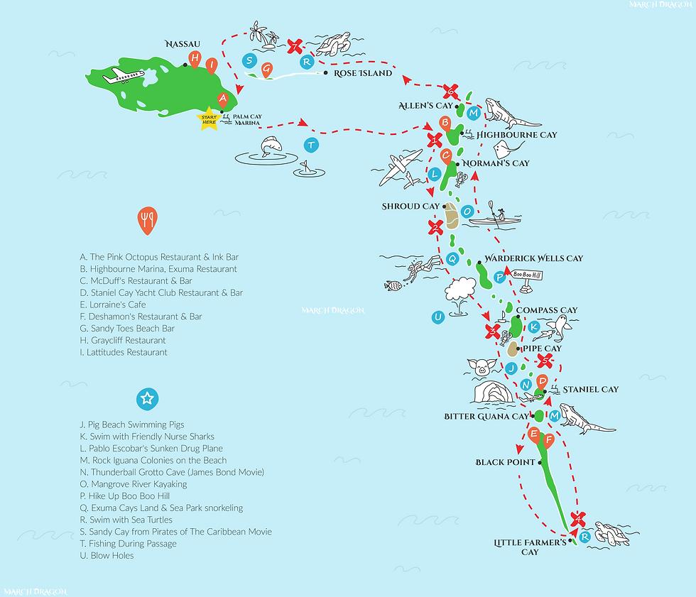 Exumas Itinerary Map blue background white logos.png
