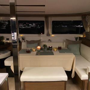 Cockpit dinner setting at night