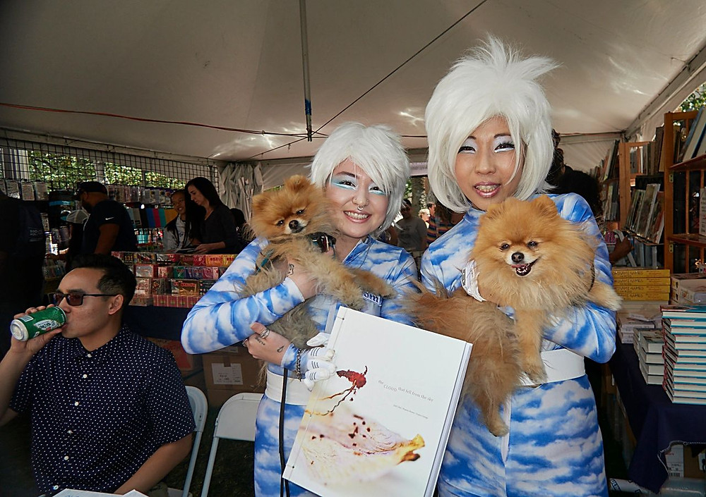 Judy Choi and Phoenix Brown at the Kinokuniya Booth at the LA Times Book Festival with their new