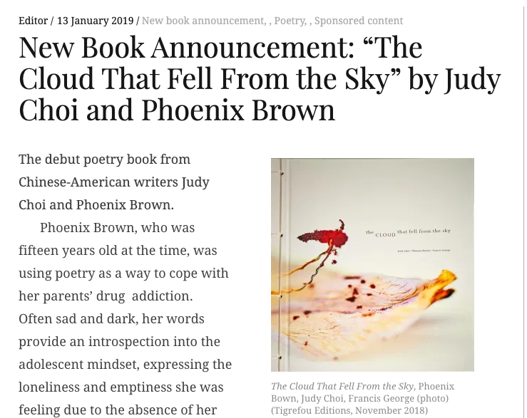 Asian Review of Books New Book Announcement The Cloud that Fell from the Sky Judy Choi, Phoenix Brown, Francis George, Mami Awamura