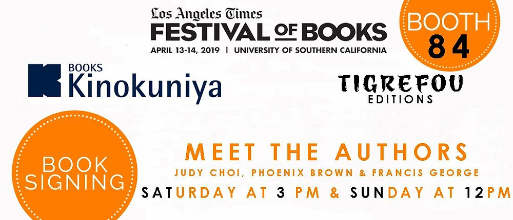 Judy Choi Phoenix Brown Francis George at LA Times Festival of Books for Kinokuniya Book Signing