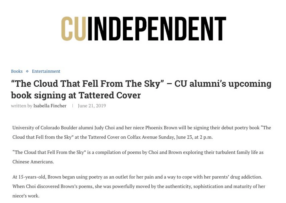 Judy Choi Phoenix Brown Francis George in the news CU Independent CU Boulder Book Signing Tattered Cover Denver Colorado Writer Poet Photography French Photographer