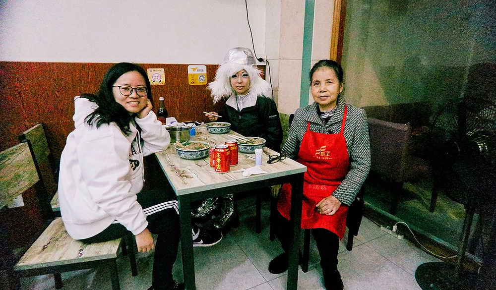 Judy Choi Francis George Tigrefou Editions Publisher Printer Clouds Visiting Shenzhen China Book Tour Launch Shanghai Julia Hu Eating Noodles at in Shaoxing