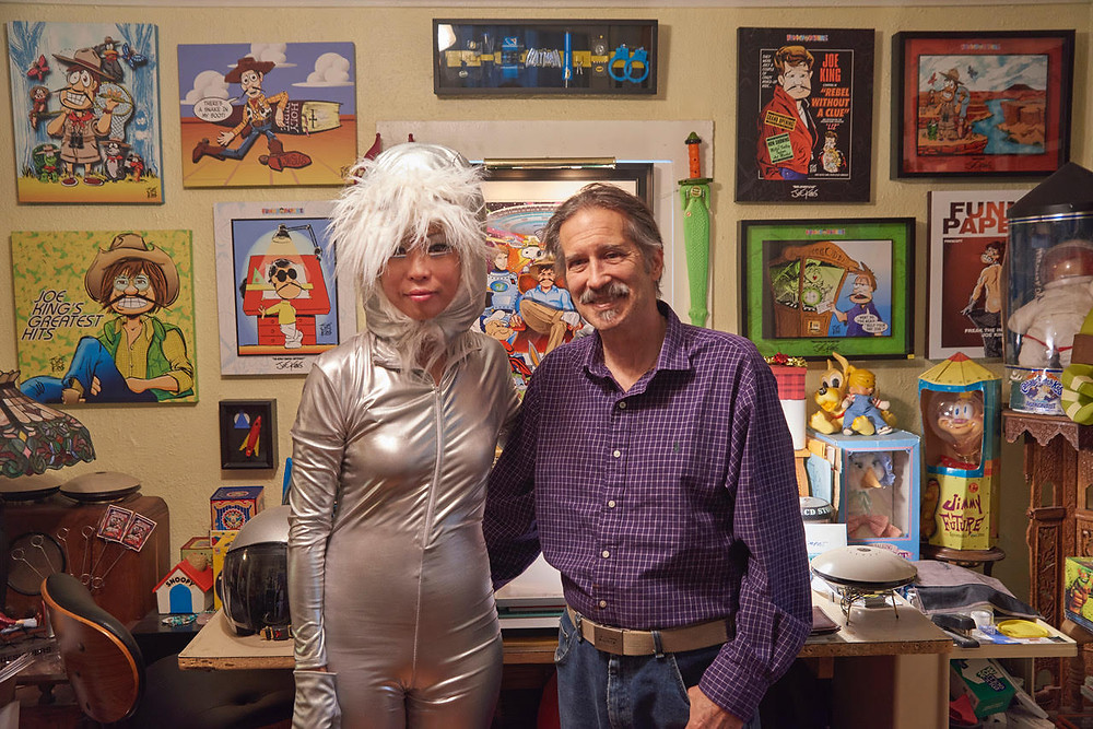 Judy Choi of Tigrefou Editions and Joe King of Toon Guys.  Photo by Francis George #JudyChoi #FrancisGeorge #JoeKing #ToonGuy #Comics #Books #Cartoons #Helmets #Muses #Stories #Photographer #Writer #TigrefouEditions