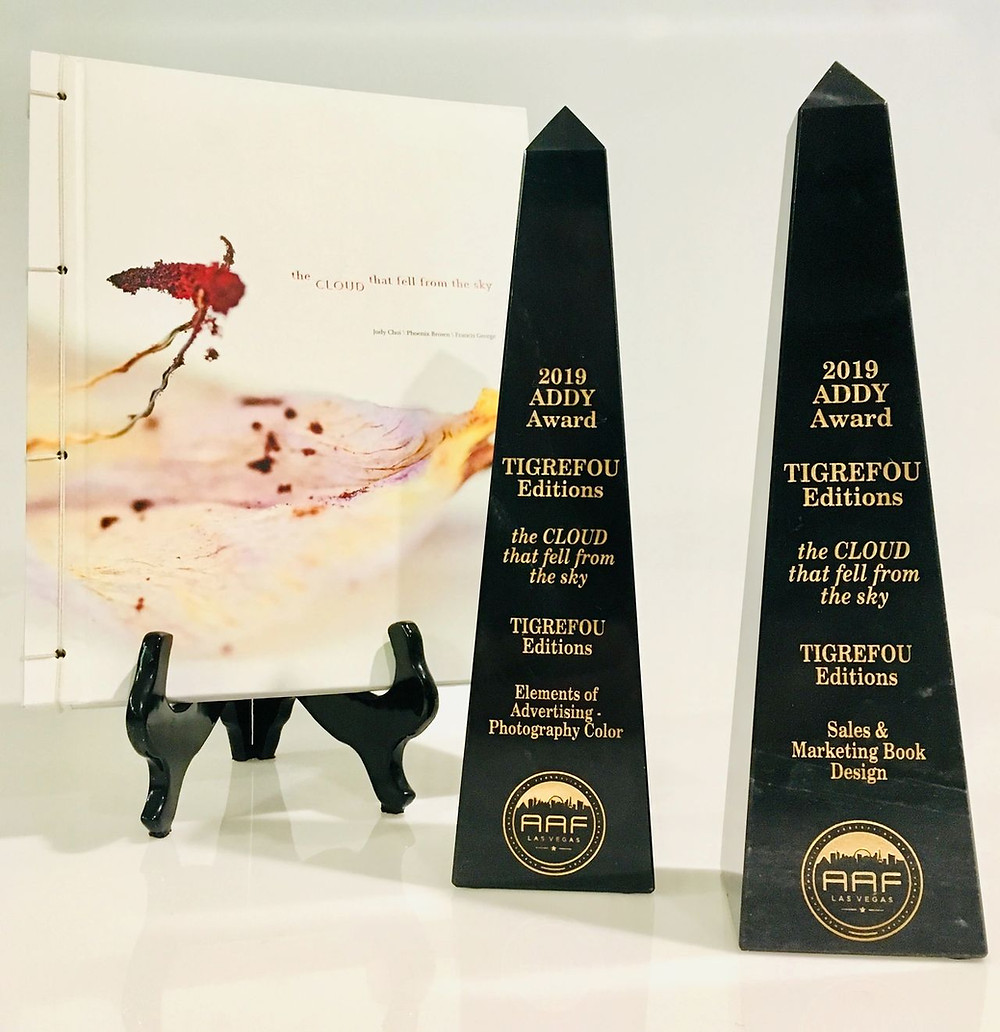 "Francis George, Mami Awamura Judy Choi, and Phoenix Brown win 2 Addy awards for book design and photography for ""the CLOUD that fell from the sky"""