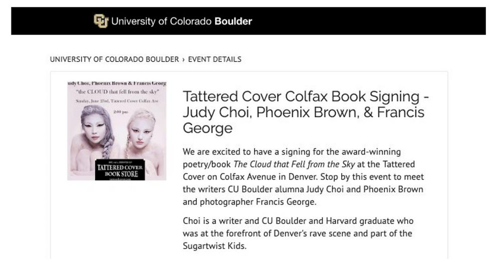 JUDY CHOI FRANCIS GEORGE PHOENIX BROWN IN THE NEWS FOR THEIR BOOK SIGNING AT TATTERED COVER DENVER COLORADO
