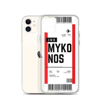 Mykonos Boarding Pass iPhone Case