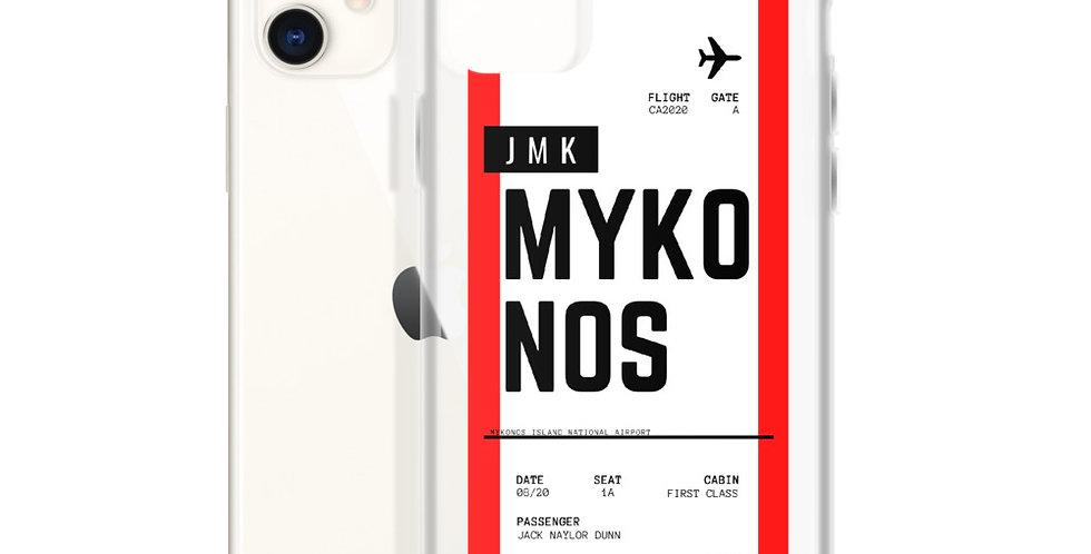 Mykonos Boarding Pass iPhone Case