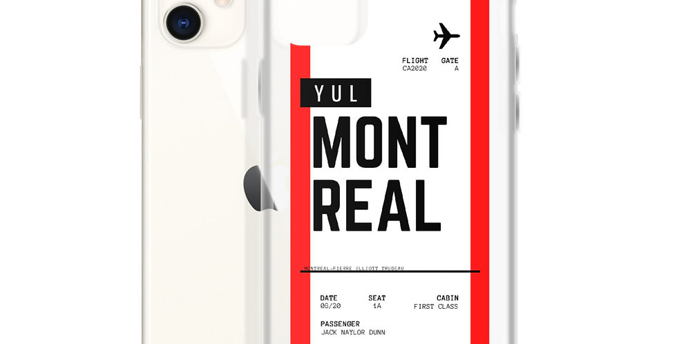 Montreal Boarding Pass iPhone Case