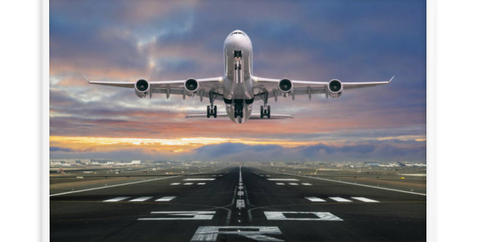 Aircraft Departing From RWY30 Framed poster