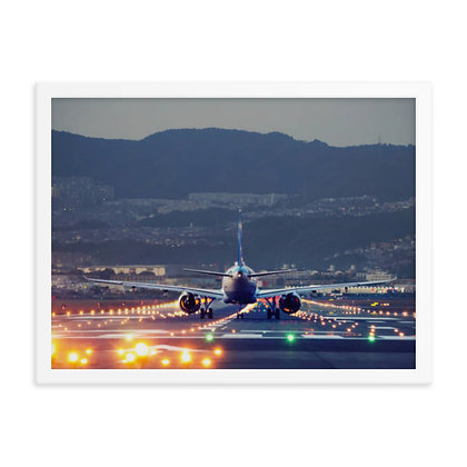 Aircraft on Lighted Runway Framed poster