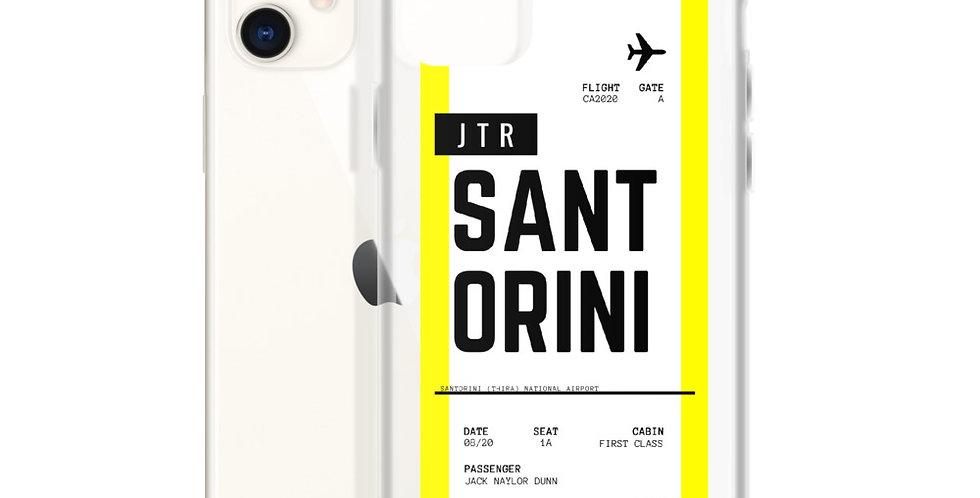 Santorini Boarding Pass iPhone Case