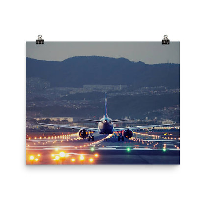 Aircraft on Lighted Runway Poster