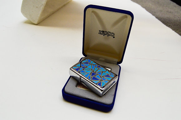 Pop Art Blue Triangles - Zippo Lighter