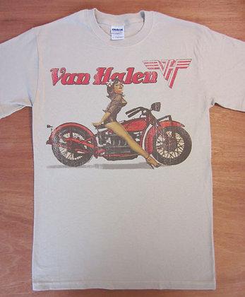 "Van Halen"" Woman on Motorcycle T-Shirt"