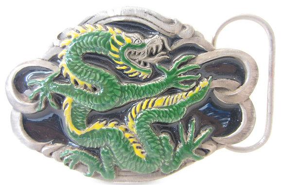 Green Dragon Enamel Buckle