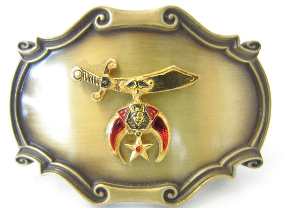 Vintage Brass Freemason with Red Detail Buckle