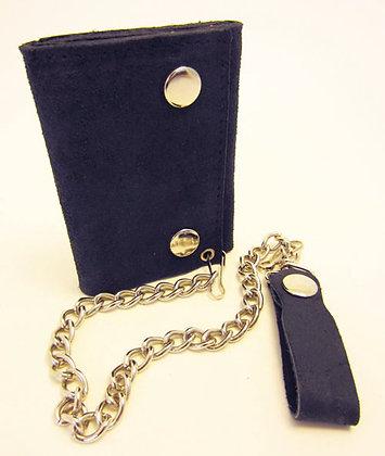 Genuine Rough Suede Black Leather Tri-Fold Wallet