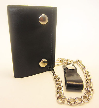 Shiny Genuine Black Leather Tri-Fold Wallet