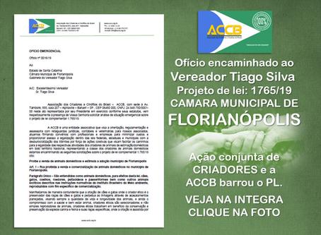 OFÍCIO á CÂMARA DOS VEREADORES DE FLORIANÓPOLIS.
