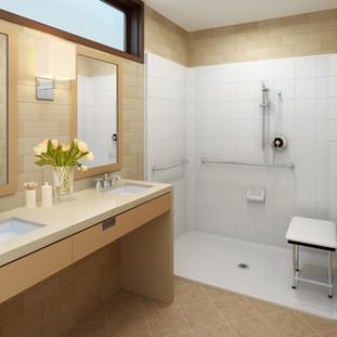 Accessible Shower - Folding Seat - Grab Bars, Glibe Bar