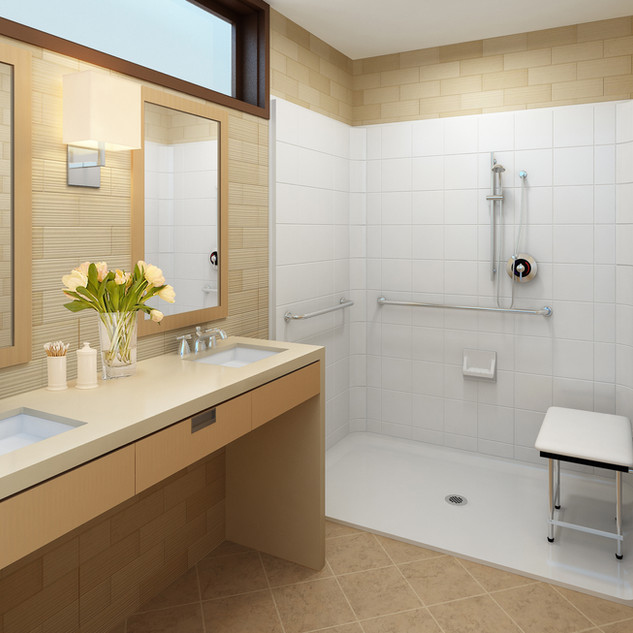Accessible Shower - Folding Seat - Grab Bars, Glibe Bar