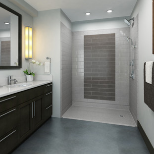 Accessible Shower - Grey Tile