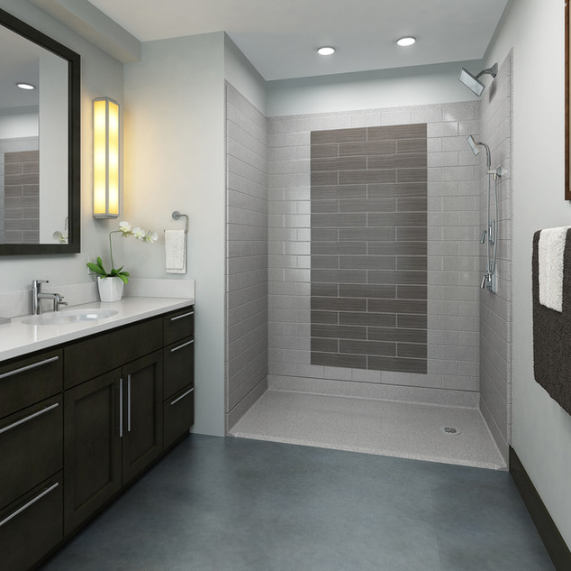 Accessible Shower - Grey Tile