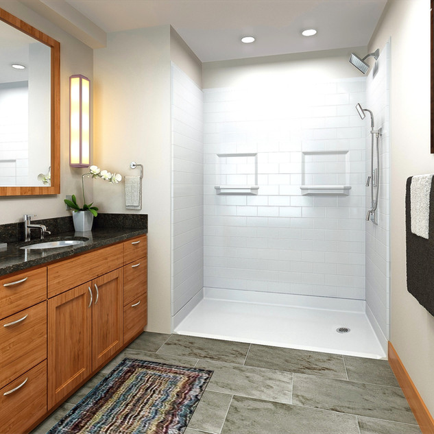 Accessible Shower - White Subway Tile