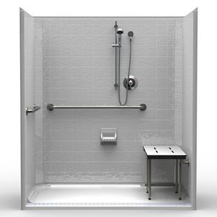 Accessible Shower - Handheld Shower, Folding Seat, Grab Bars
