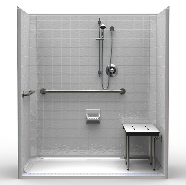Accessible Shower - Handheld Shower, Folding Seat, Grab Bars