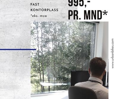 Høsttilbud  - Fast kontorplass 995,- pr. mnd