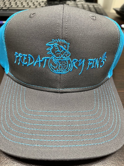 Gray and blue Predatory Fins Trucker style Hat