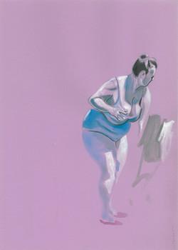 Bagnante in viola 25 cm x 53 cm, ink, 2020