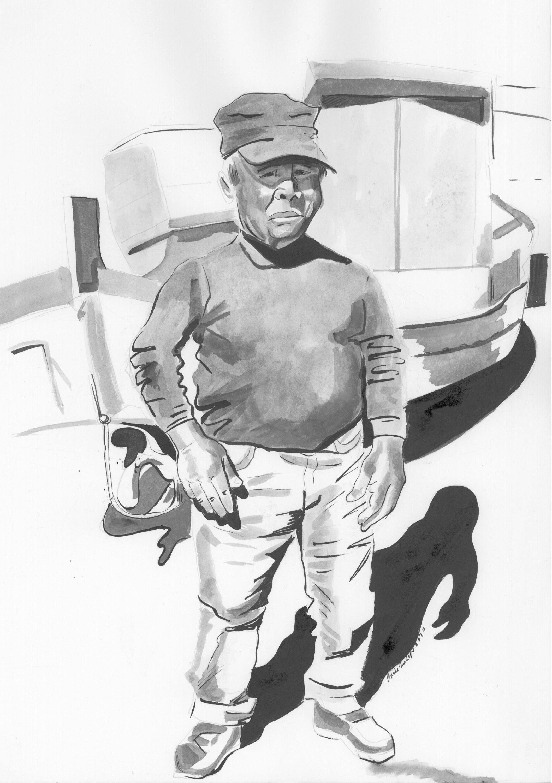 FISCHERMAN 2, 25 cm x 53 cm, ink, 2020