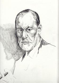 #lindarandazzo ritratto di Sigmund Freud 2013, matita su carta 2013