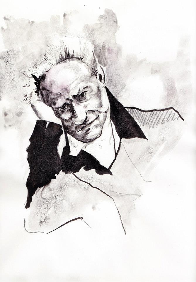 #lindarandazzo ritratto di Arthur Schopenhauer china su carta 2013