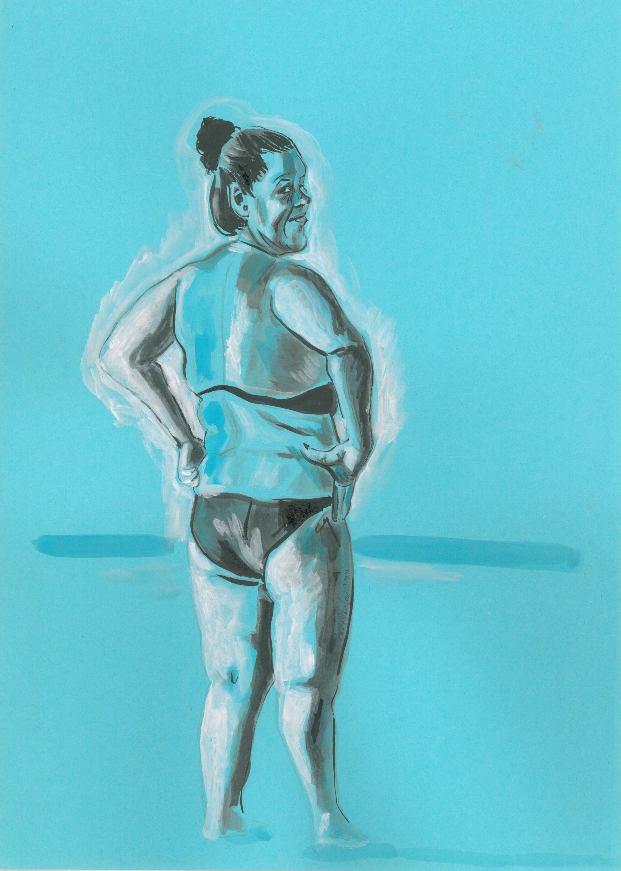 Bagnante in blu 25 cm x 53 cm, ink, 2020